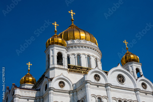 The Cathedral of Christ the Saviour (Khram Khrista Spasitelya) a Russian Orthodox cathedral on the northern bank of the Moskva River. Moscow, Russia