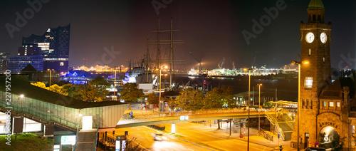 Plakat Landungsbrücken i port w Hamburgu