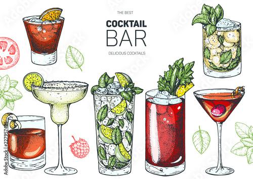Cuadros en Lienzo  Alcoholic cocktails hand drawn vector illustration