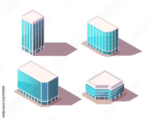 Fototapeta Vector isometric set office buildings with realistic shadows. High Quality City Elements for Map. Low poly town. obraz