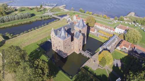 Photo  Aerial view on the Loevestein Castle