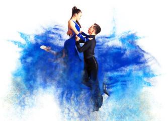 Dancing ballroom. Color dust effect