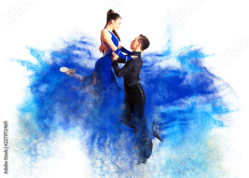 Photo Dancing ballroom. Color dust effect