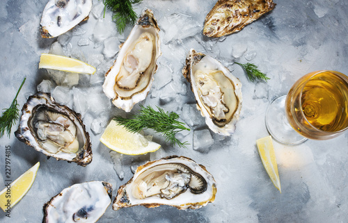 Opened Oysters and glass of white wine on gray concrete texture background