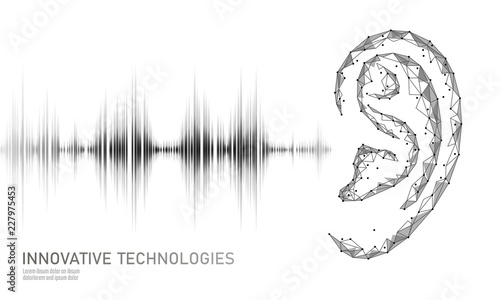 Sound recognition voice assistant low poly Fototapeta