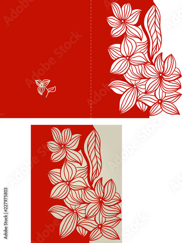 Fototapeta Wedding Invitation Or Greeting Card With Abstract Ornament Suitable For Greeting Cards Invitations Menus Laser Cut Wedding Trifold