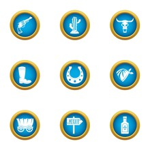 Border Mexico Icons Set. Flat Set Of 9 Border Mexico Vector Icons For Web Isolated On White Background