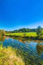 Croatian Rivers, Valley Of Dobra And Old Fortress In Novigrad, Green Countryside Landscape Karlovac County
