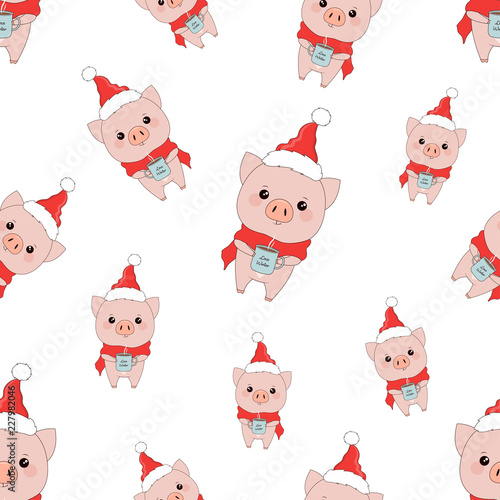 Printed kitchen splashbacks Illustrations winter pattern with pigs