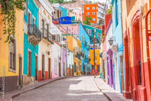 Colorful alleys and streets in Guanajuato city, Mexico