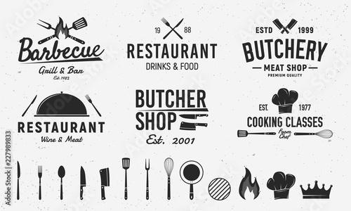 Fotografia 6 Vintage logo templates and 14 design elements for restaurant business