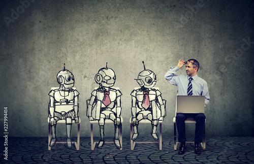 Obraz Human vs artificial intelligence concept. - fototapety do salonu