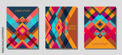 Fotografia  Cover page layout vector template geometric design with triangles and stripes pattern
