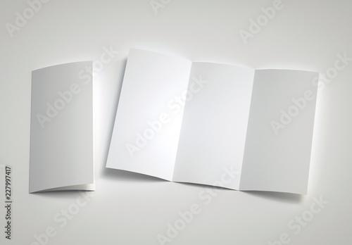 Obraz Opened Leaflet Mockup on gray background. 3d rendering. - fototapety do salonu