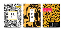 Animal Patterns Set Zebra, Leopard, Snake, Tiger, Snow Leopard. Marble Texture. Fluid Art. For Design Covers, Presentation, Invitation, Flyers, Annual Reports, Posters And Business Cards.
