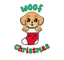 Cute Puppy In A Christmas Stocking. My First Christmas. Vector Illustration Isolated On White Background.
