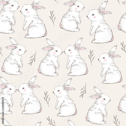 Obraz na plátně Seamless pattern with cute white rabbits