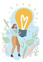 Woman Showing Light Bulb.
