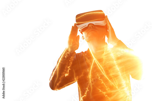 Foto  Young man with virtual reality glasses