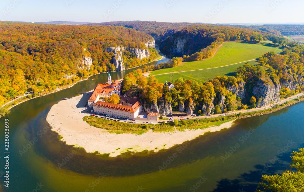 Fototapety, obrazy: Aerial view to Weltenburg Abbey - Kloster Weltenburg. This landmark is a Benedictine monastery in Weltenburg in Kelheim on the Danube in Bavaria, Germany.