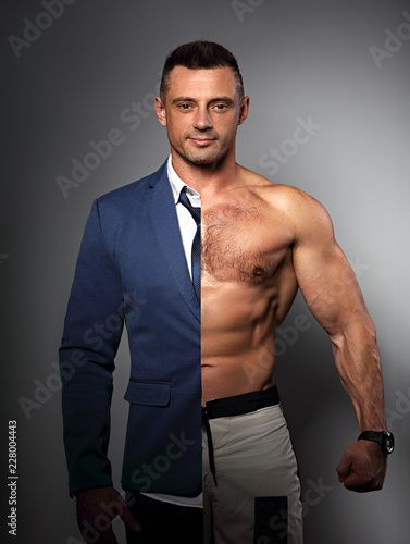 Fotografía Half happy success business man in style blue suit and half of strong athlete with biceps on grey background
