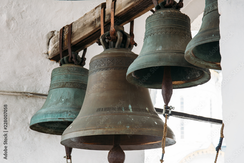 Fototapety, obrazy: Bronze bells on tower in ancient Kremlin in Rostov the Great, Russia, monument of architecture of famous tourist Golden Ring