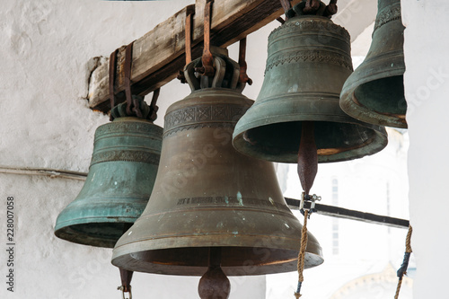 Valokuvatapetti Bronze bells on tower in ancient Kremlin in Rostov the Great, Russia, monument o