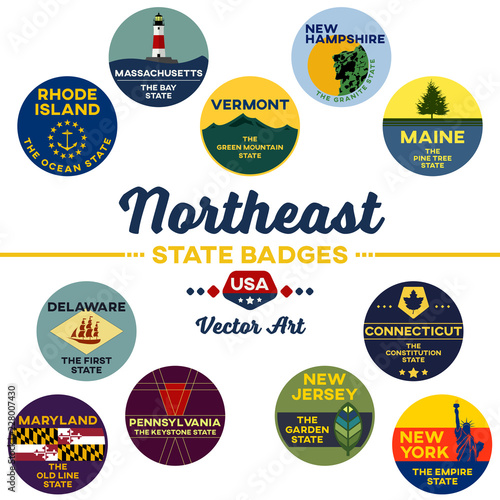 Photo  united states | northeast state digital badges | vector art