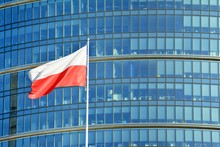 Polish Flag On A Pole Waving,...