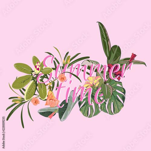 Summer Time Vector Banner Design On Pink Background