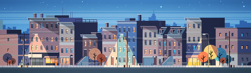city building houses night view skyline background real estate cute town conc...