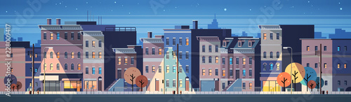 city building houses night view skyline background real estate cute town concept horizontal banner flat vector illustration