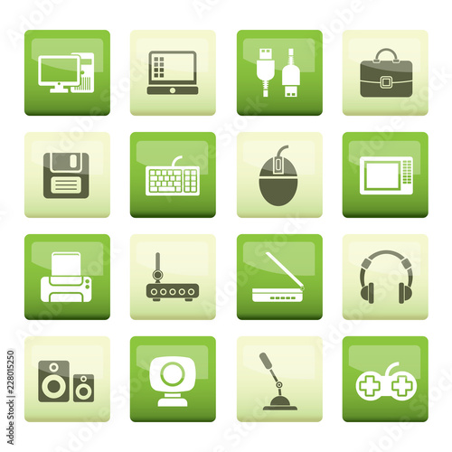 Stampa su Tela Computer equipment and periphery icons over green background - vector icon set