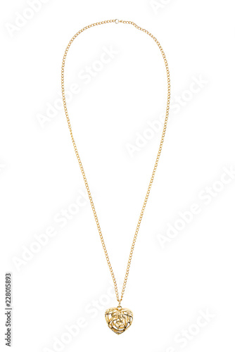 Leinwand Poster Heart shaped gold necklace on white background