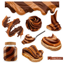 Chocolate And Peanut Butter. 3d Vector Realistic Icon Set