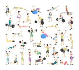 Fototapeta na wymiar Big set of people doing exercises in the gym
