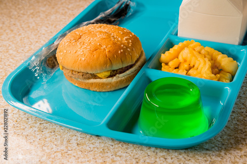 School Lunch Tray Cheeseburger