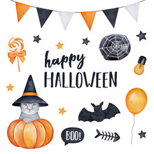 Happy Halloween Greeting Card Design. Little Kitten Dressed In Witch Hat, Holiday Sweets, Stars, Spooky Fish Bone, String Flags, Spider Web, Speech Bubble. Hand Drawn Water Color Sketchy Illustration.