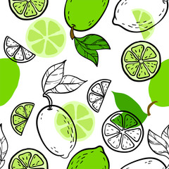 Panel Szklany Podświetlane Do gastronomi Beautiful green, black and white seamless doodle pattern with cute doodle limes sketch. Hand drawn trendy background. design background greeting cards, invitations, fabric and textile