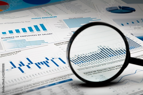 Fotomural  Magnifying Glass on Business Graphs and Charts