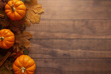 Fall Themed Background On A Wo...
