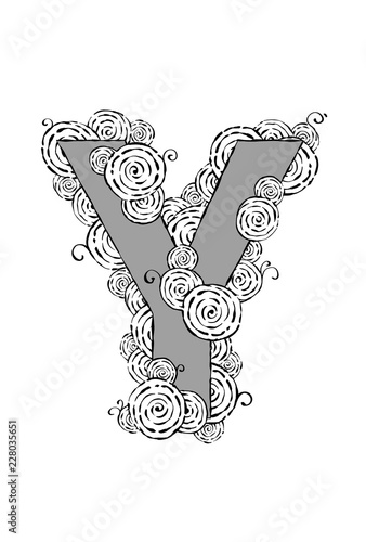 "Fotografie, Obraz  Black and white illustration of the letter ""Y"" with swirl patterns"