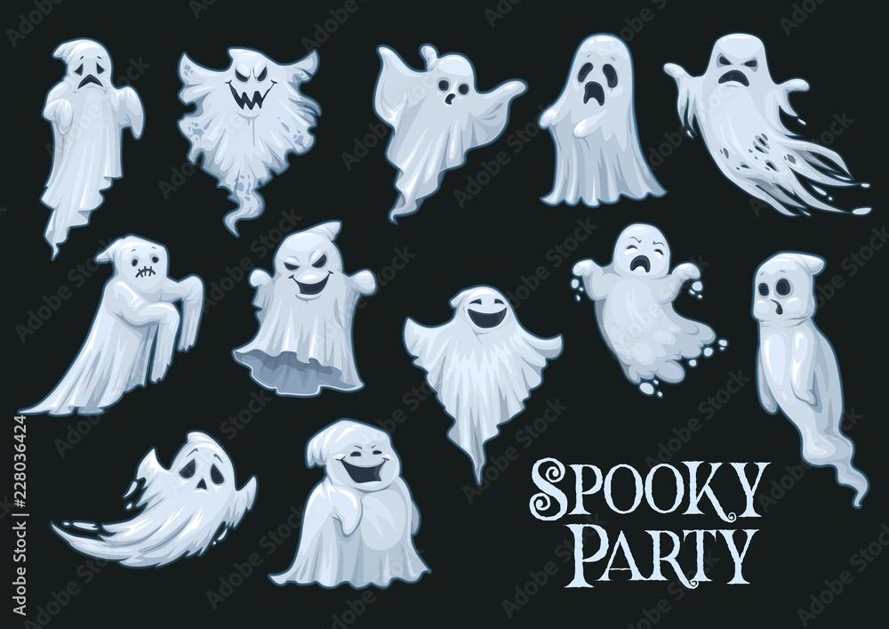 Fototapeta Halloween vector scary ghosts, spooky party