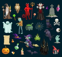 Halloween Holiday Evil Characters, Vector