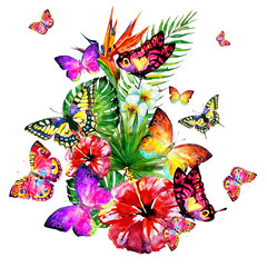 beautiful red flowers and butterflies, palm leaves, watercolor on a white