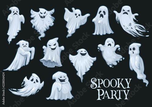 Valokuva  Halloween vector scary ghosts, spooky party