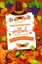 Friendsgiving Potluck Party Objects, Vector