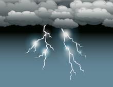 Storm Scene With Lightning