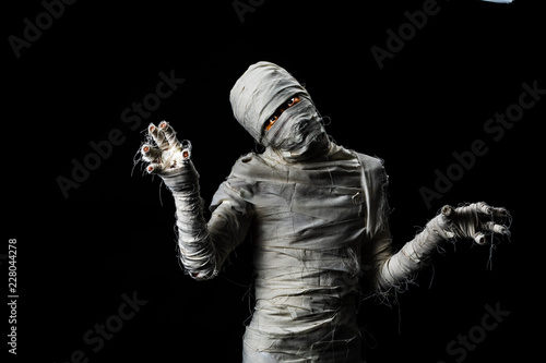Photo Studio shot portrait  of young man in costume  dressed as a halloween  cosplay o