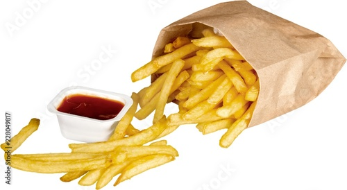 Tablou Canvas French Fries In Bag And Ketchup - Isolated